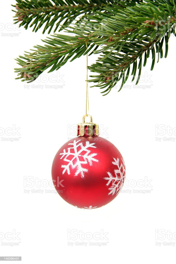A red Christmas bauble hanging from a tree royalty-free stock photo