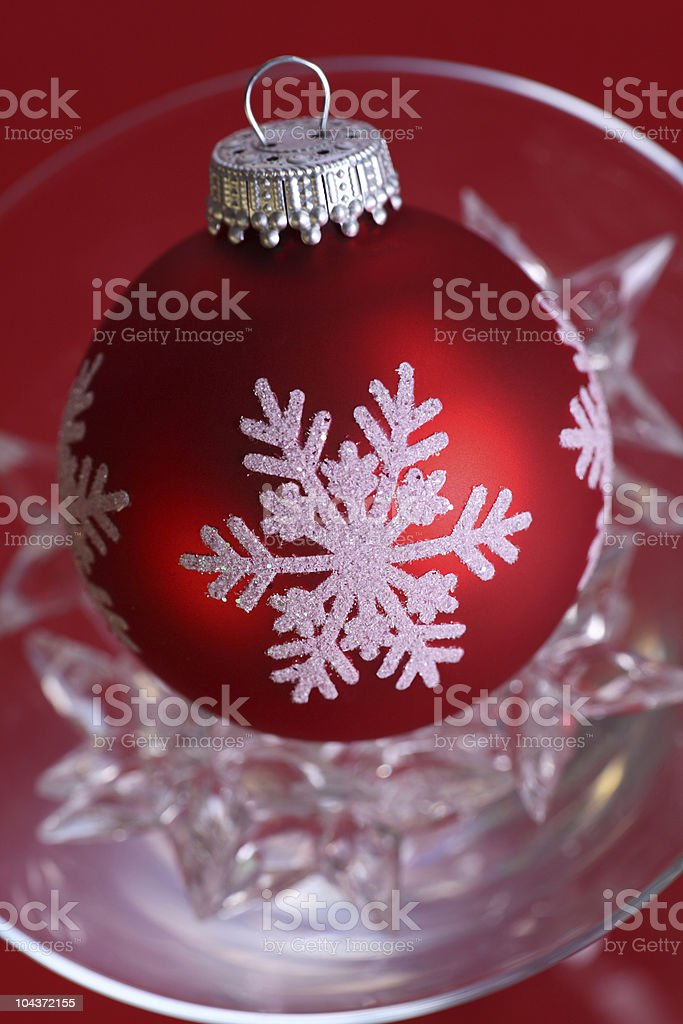Red Christmas Bauble in Glass stock photo