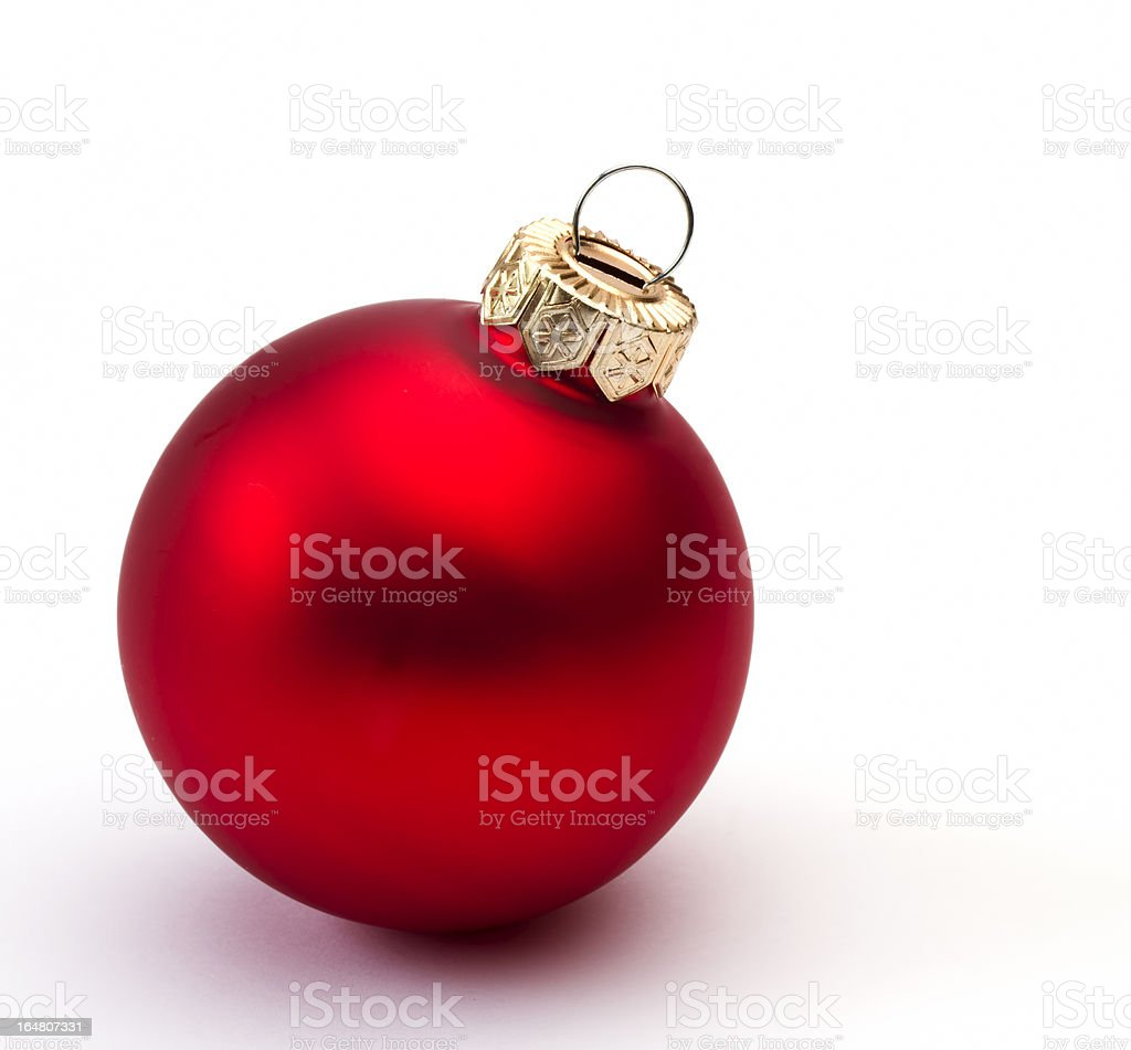 Red christmas bauble on a white royalty-free stock photo