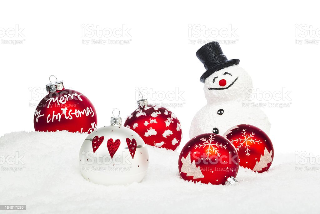 Red Christmas Baubles in Snow royalty-free stock photo