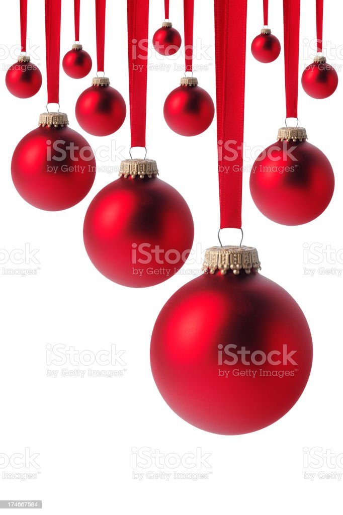 Red Christmas Baubles Isolated on White royalty-free stock photo