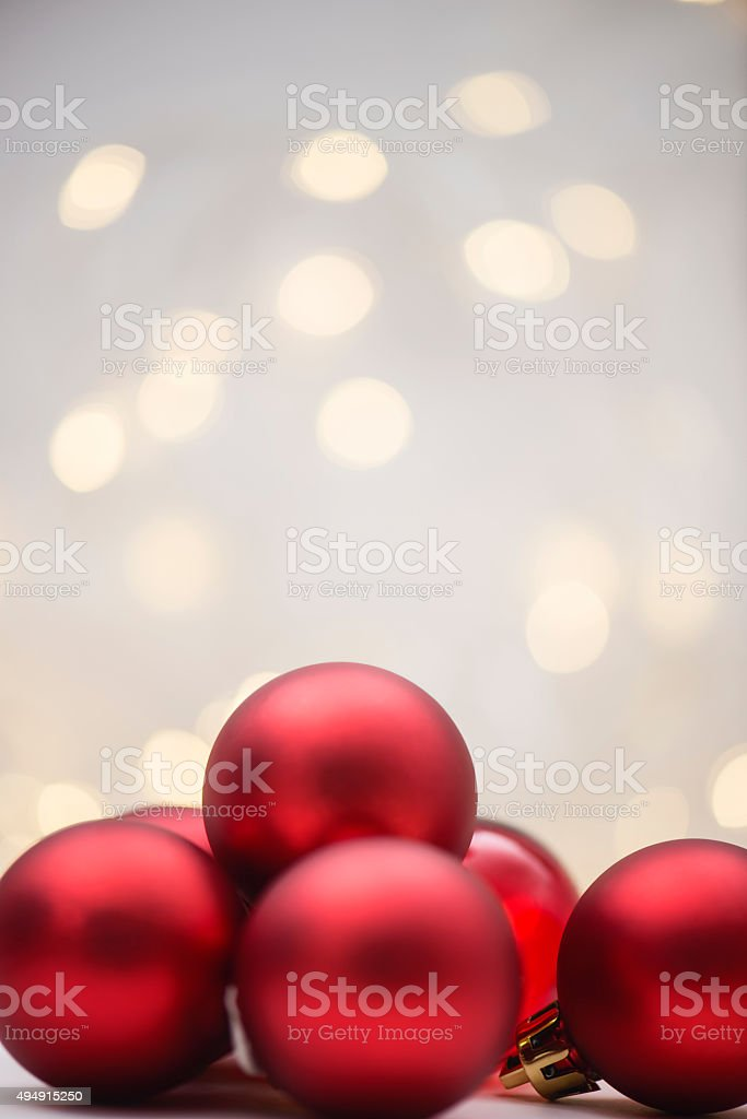 Red Christmas Baubles stock photo