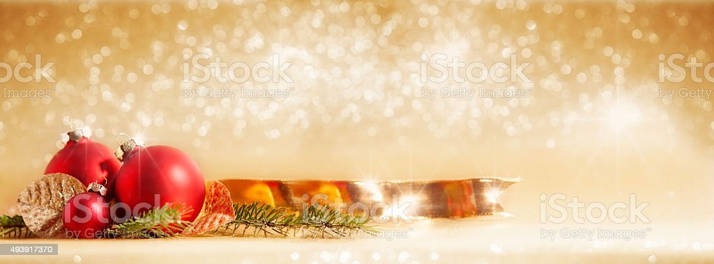 red Christmas baubles with Christmas decoration stock photo