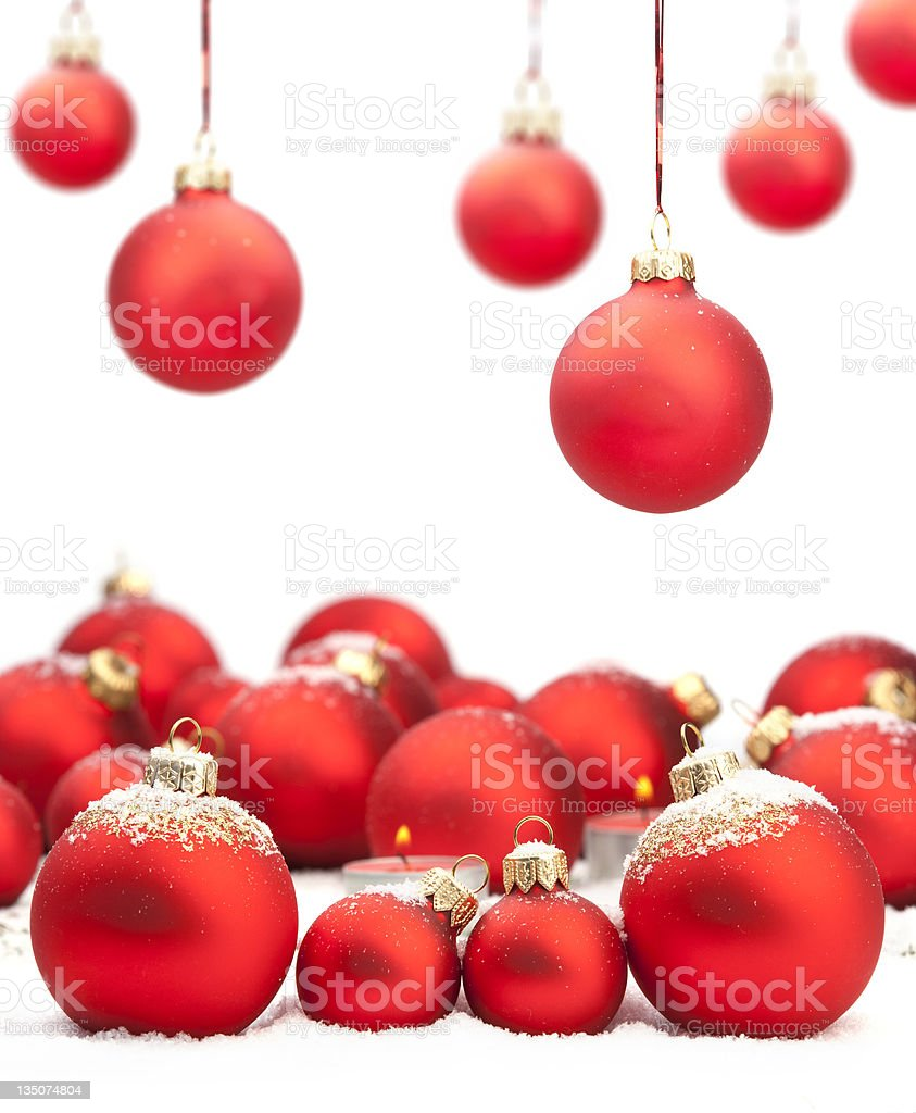 Red Christmas baubles with space for text royalty-free stock photo