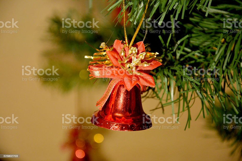 Red christmas bell hanging stock photo