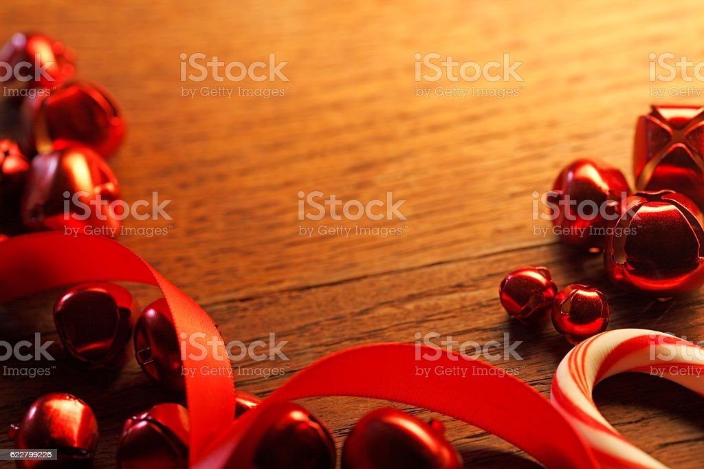 Red Christmas Bells & Candy Cane stock photo