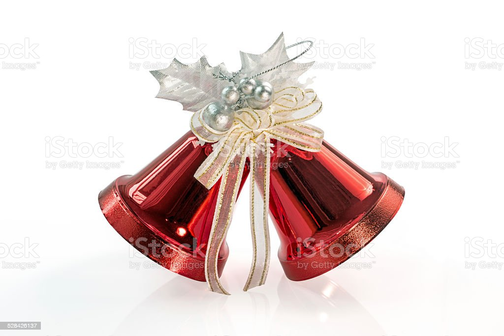 Red Christmas Bells isolated on white stock photo