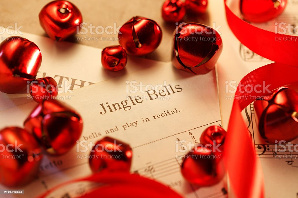 Red Christmas Bells Surround Jingle Bells Sheet Music stock photo