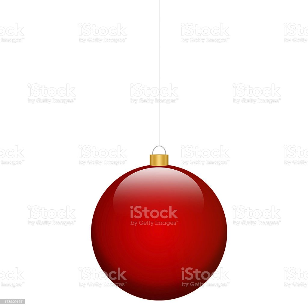 red christmas bulb isolated stock photo