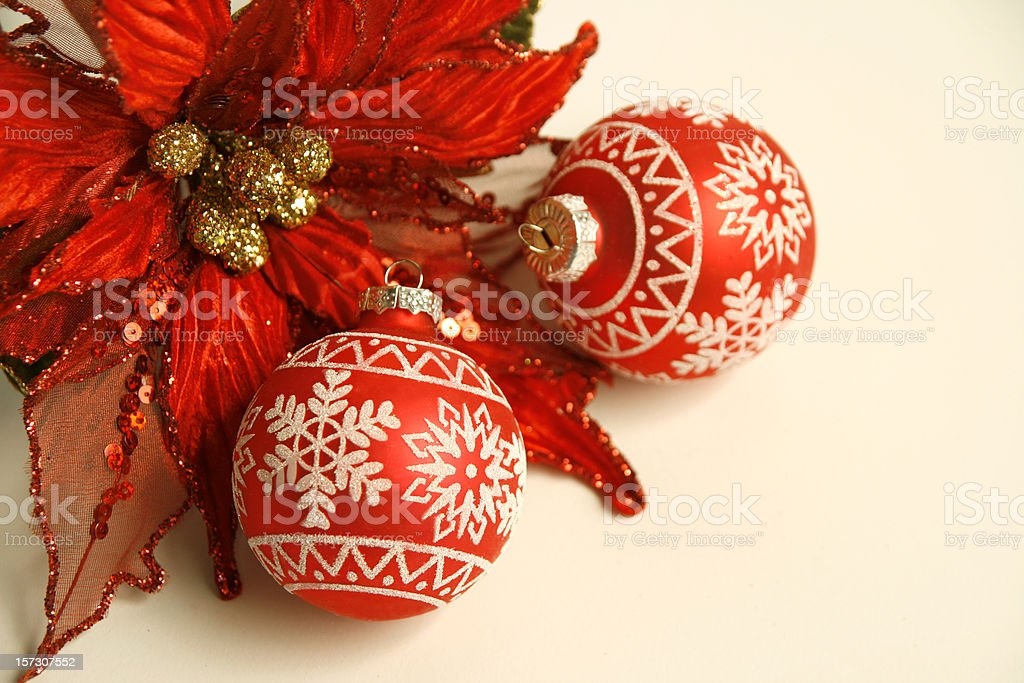 Red Christmas bulbs and silk poinsettia holiday decorations royalty-free stock photo
