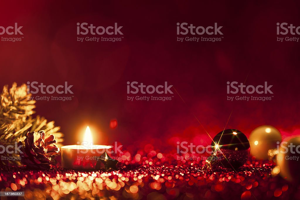 Red Christmas - Candle Light Bokeh Defocused Decoration Gold royalty-free stock photo