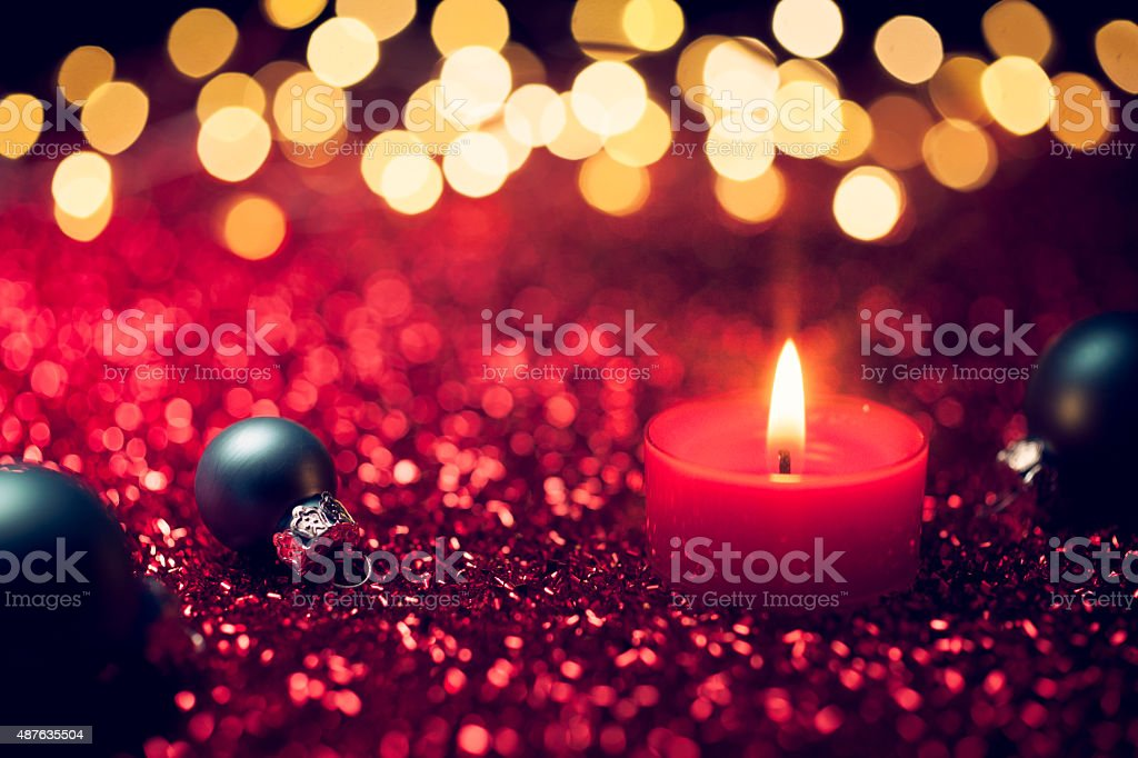 Red Christmas - Candle Light Bokeh Defocused Decoration Gold stock photo
