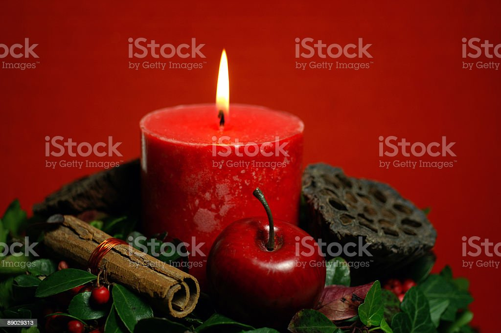 Red Christmas Candle royalty-free stock photo