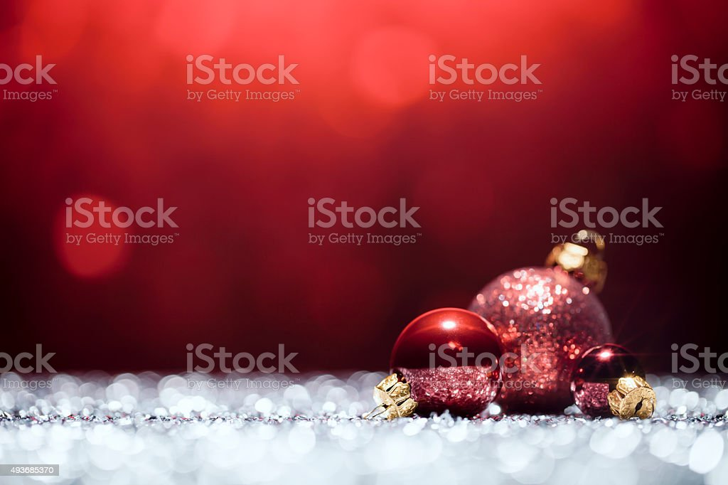 Red Christmas Decorations - Lights Bokeh Defocused Decoration White stock photo