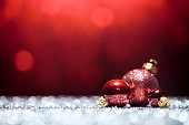 Red Christmas Decorations - Lights Bokeh Defocused Decoration White