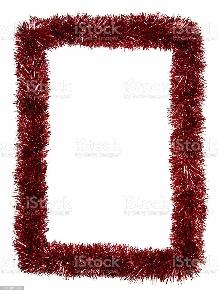 Red Christmas garland frame royalty-free stock photo