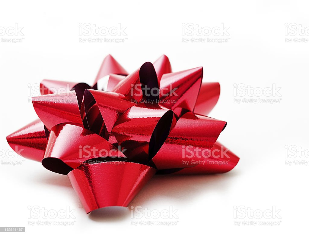 Red Christmas gift bow on white stock photo