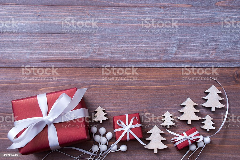 Red Christmas Gifts, Presents, White Ribbon, Tree, Copy Space stock photo