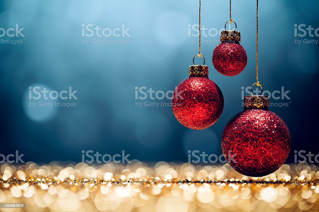 Red Christmas - Lights Bokeh Defocused Decoration Gold Blue stock photo
