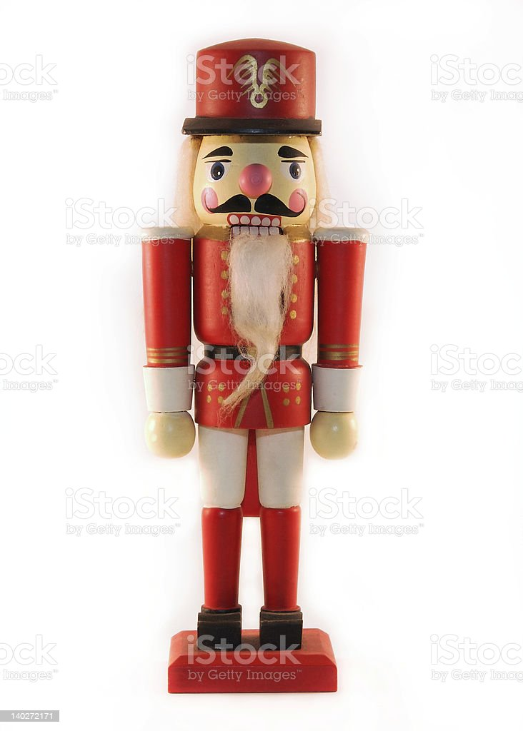 Red Christmas nutcracker isolated on a white background stock photo