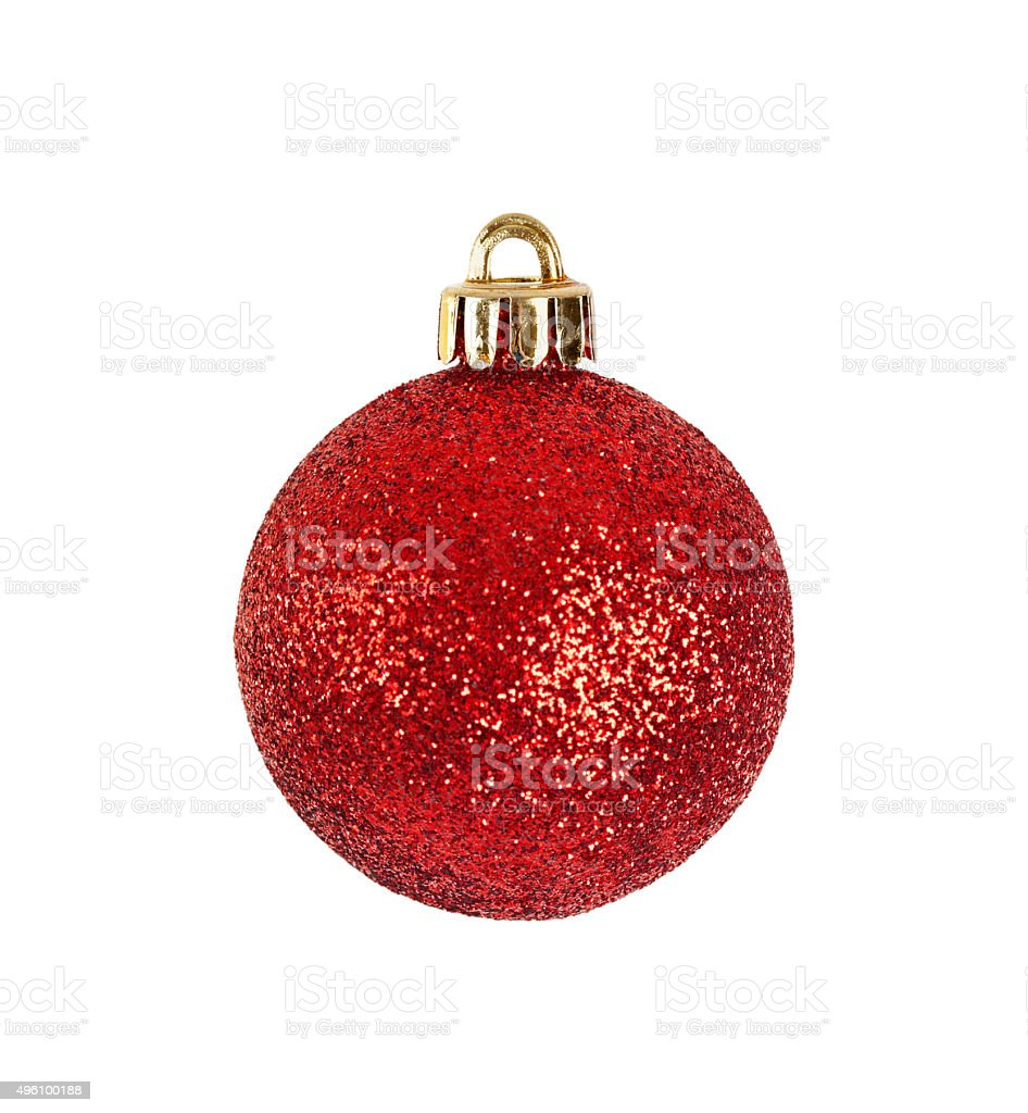 Red Christmas Ornament Isolated On White stock photo