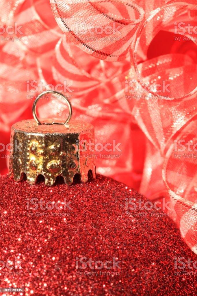 Red Christmas Ornament Macro stock photo