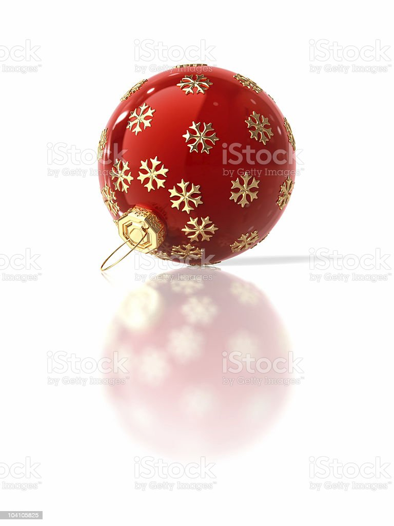 Red christmas ornament with gold snowflake royalty-free stock photo