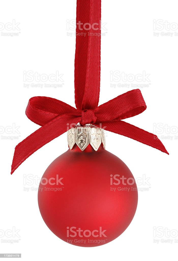 Red Christmas Ornament with Ribbon royalty-free stock photo