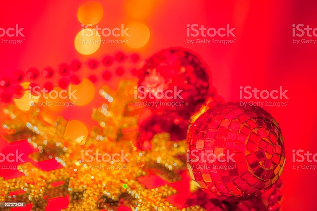 Red Christmas Ornaments and Gold Snowflake are reflected (P) stock photo