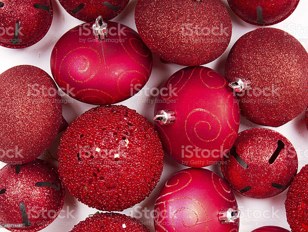 Red Christmas ornaments for background stock photo