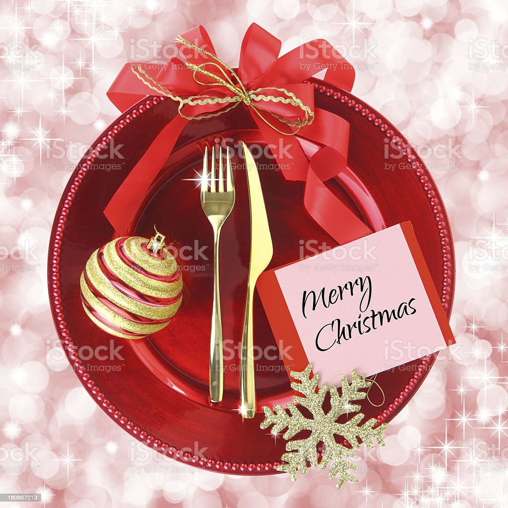 Red Christmas plate on elegance background royalty-free stock photo