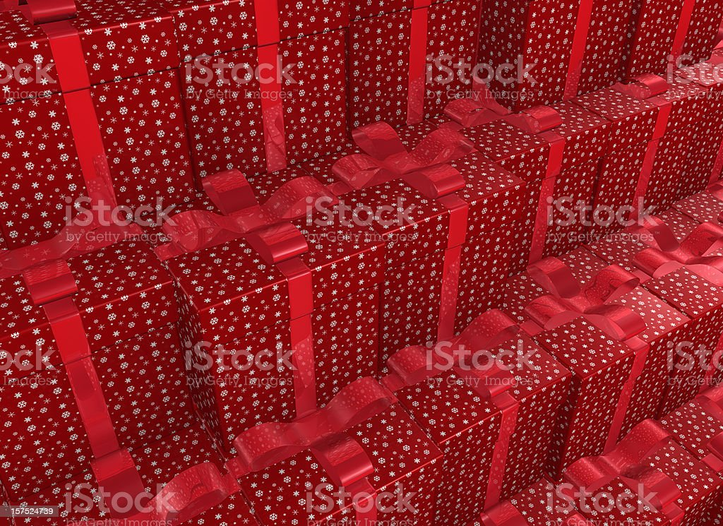 red Christmas Presents background with Bow royalty-free stock photo