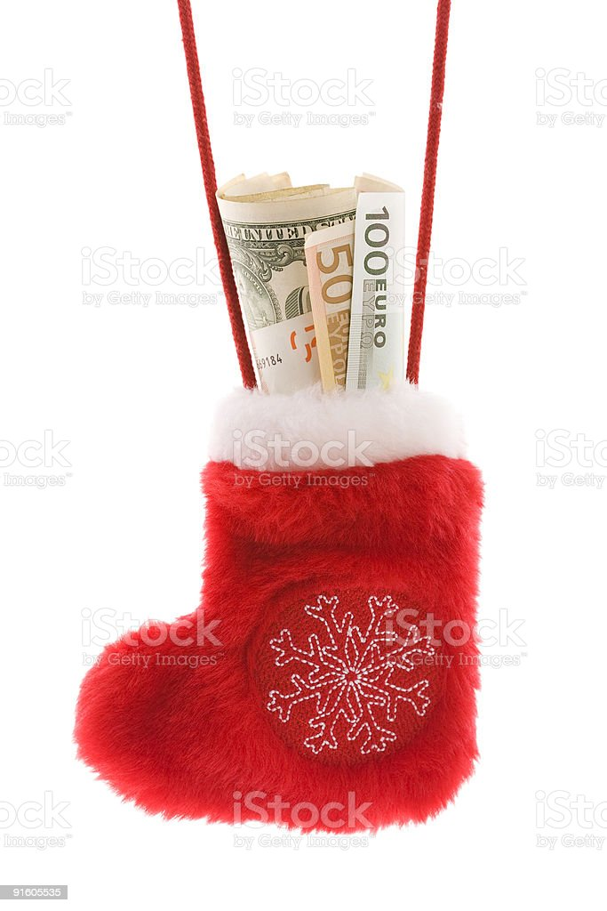 Red christmas sock with euro and dollar cash money royalty-free stock photo