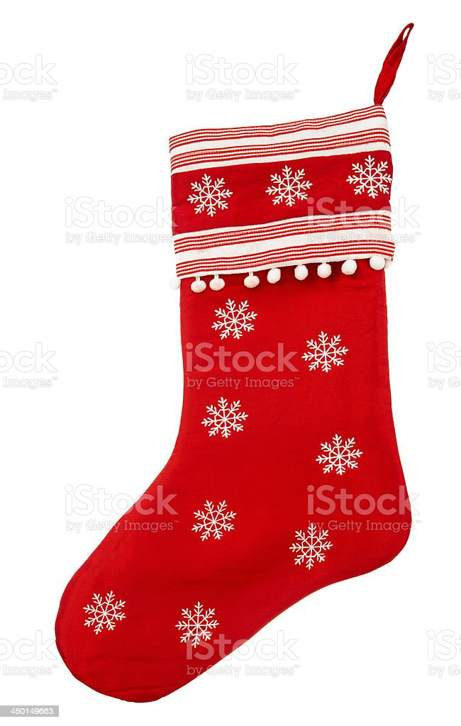 red christmas sock with white snowflakes for Santa gifts stock photo