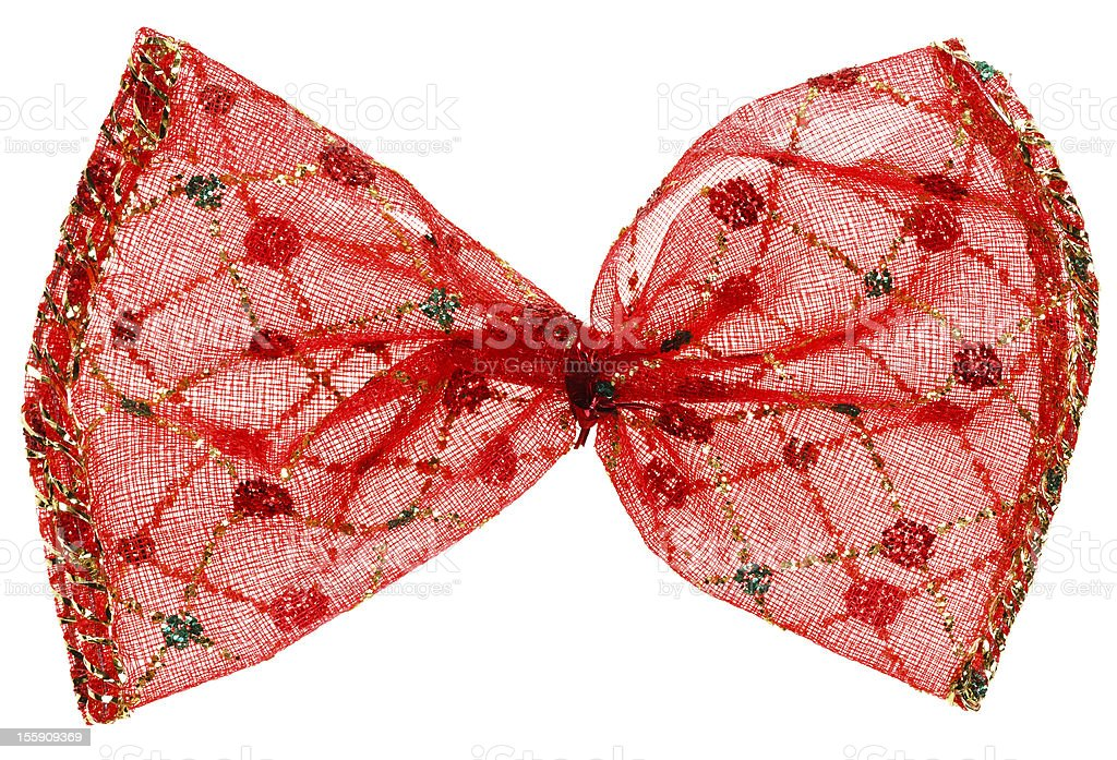 Red Christmas spotted bow, isolated on white royalty-free stock photo