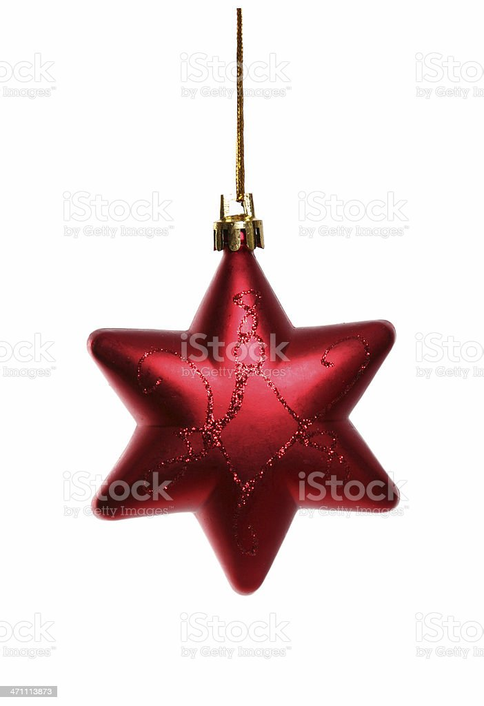 Red Christmas star Isolated on White background stock photo