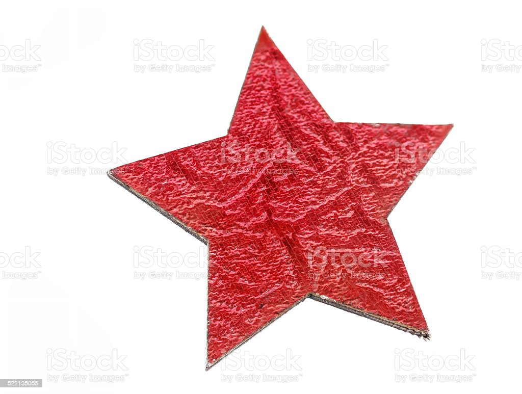 red Christmas star out of wood, isolated stock photo