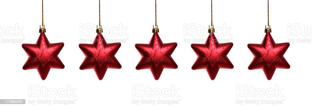 Red Christmas Stars Ornaments Isolated on White Background royalty-free stock photo