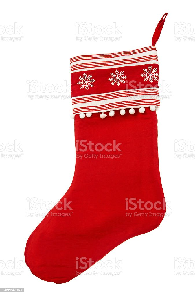 red christmas stocking for Santas gifts on a white background stock photo