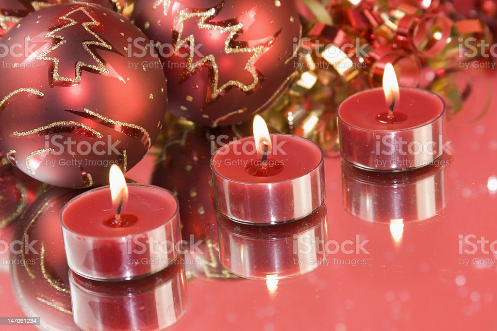 red christmas tealights royalty-free stock photo