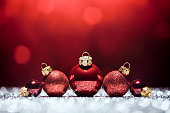 Red Christmas Time - Decorations Lights Bokeh Defocused Decoration White