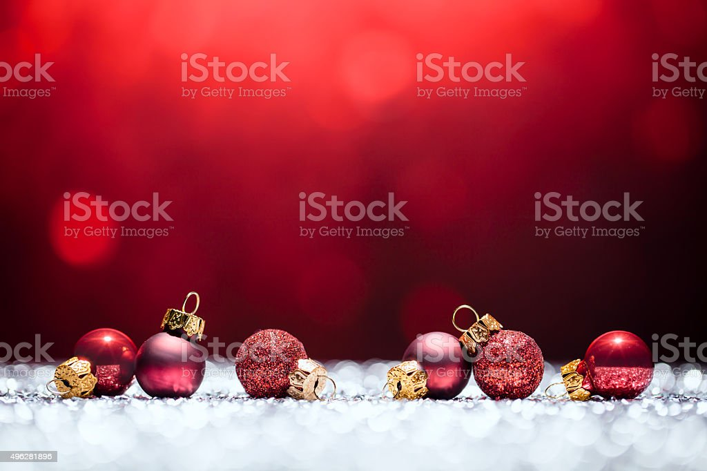 Red Christmas Time - Decorations Lights Bokeh Defocused Decoration White stock photo