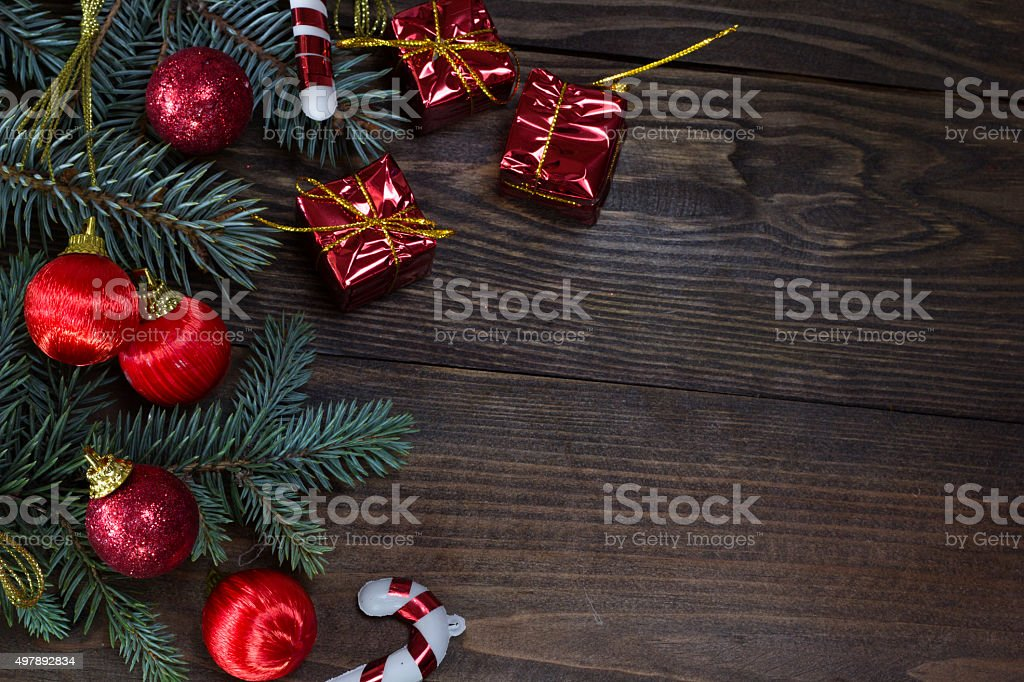 Red Christmas toys and gifts , coils tree stock photo