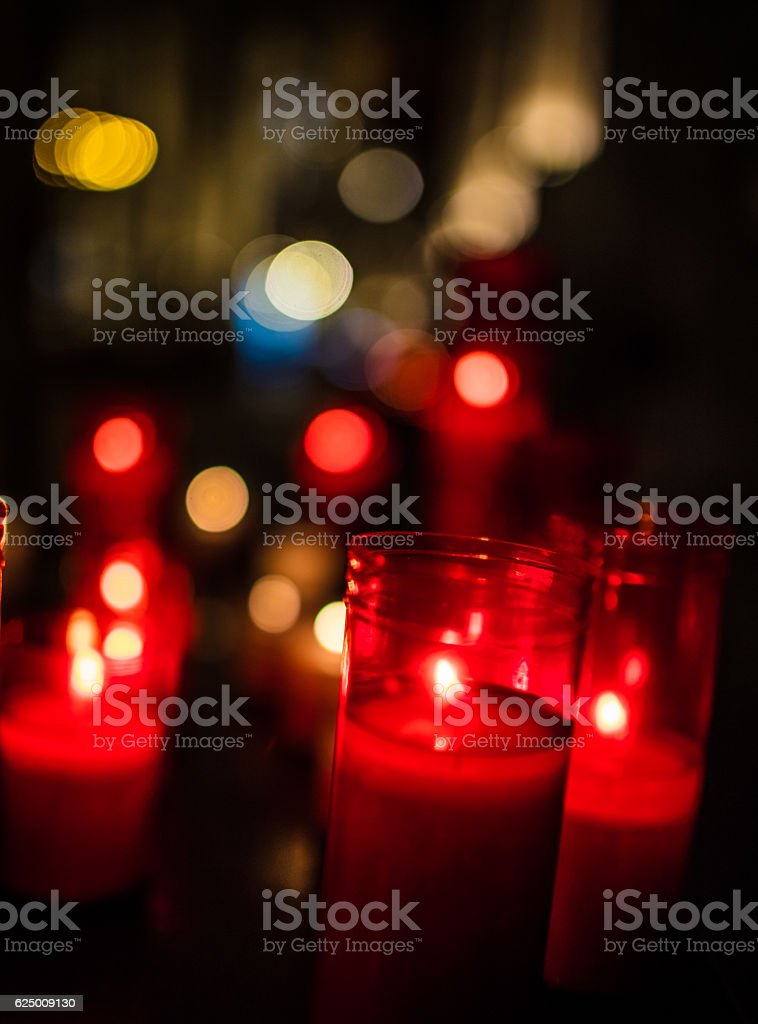 Red Christmas votive candles stock photo