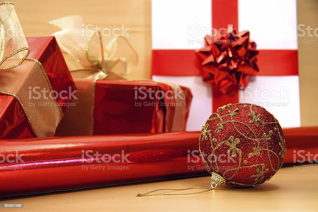Red Christmas wrappings royalty-free stock photo