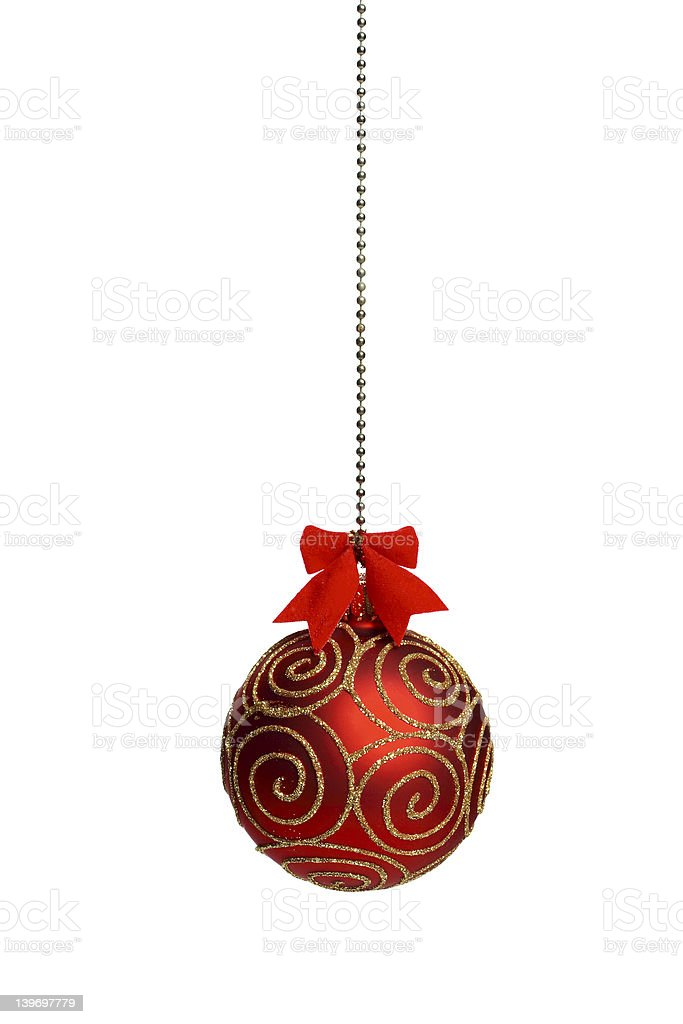 Red Christmass ball with little bow and gold glitter ornament stock photo