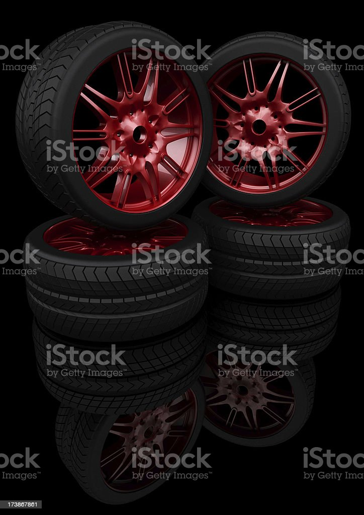 Red Chrome Light Alloy Wheels royalty-free stock photo