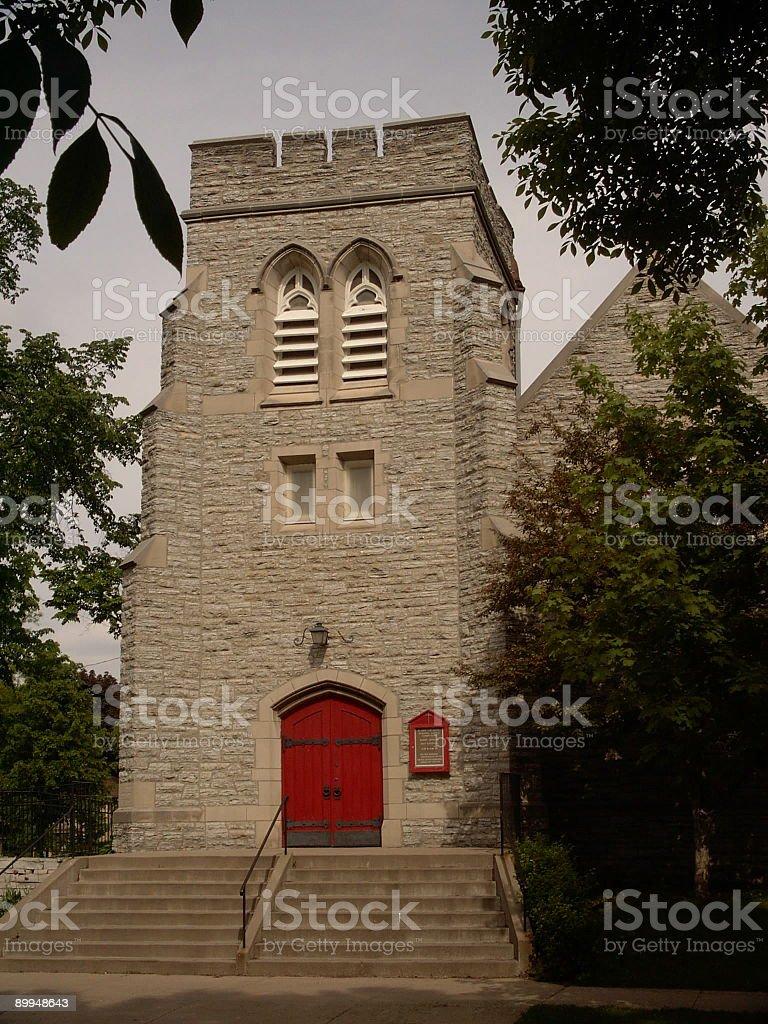 red church door stock photo