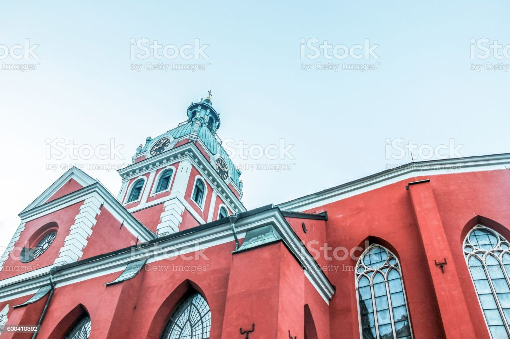 red church in stockholm stock photo