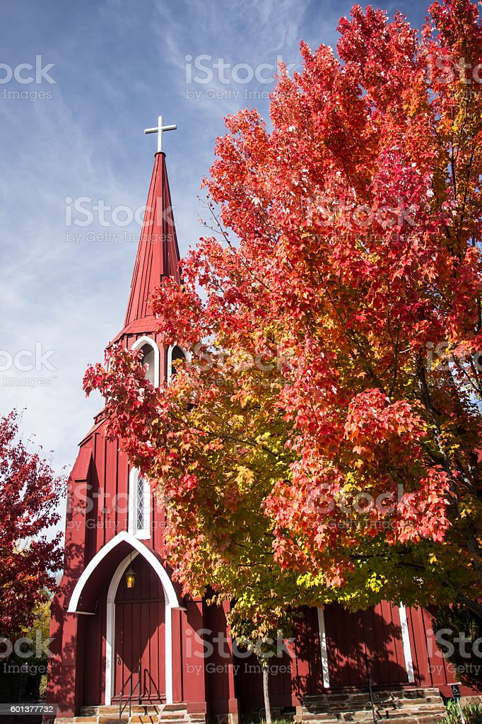 Red Church stock photo